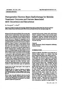 Postoperative Electron Beam Radiotherapy for Keloids: Treatment ...