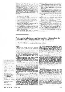 Postoperative radiotherapy and late mortality