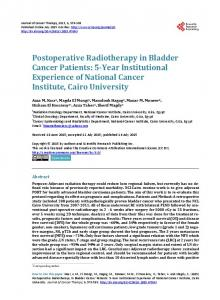 Postoperative Radiotherapy in Bladder Cancer Patients - Scientific ...