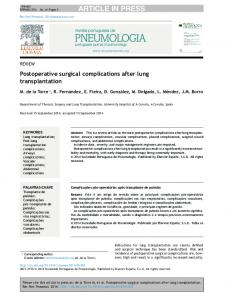 Postoperative surgical complications after lung ...