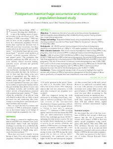 Postpartum haemorrhage occurrence and recurrence: a population ...