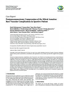 Postpneumonectomy Compression of the Mitral Annulus: Rare ...
