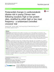 Postprandial changes in cardiometabolic disease risk in young ...