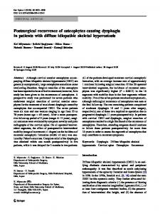 Postsurgical recurrence of osteophytes causing dysphagia in patients ...