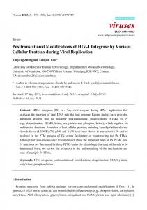 Posttranslational Modifications of HIV-1 Integrase