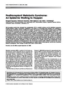 Posttransplant metabolic syndrome: An ... - Wiley Online Library