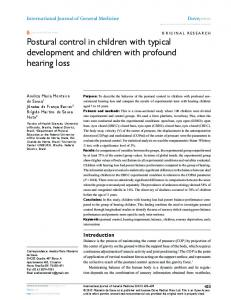 Postural control in children with typical development and ... - CiteSeerX