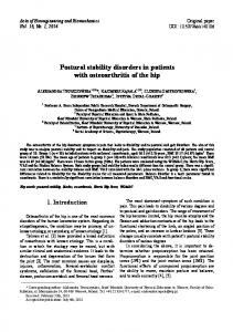 Postural stability disorders in patients with
