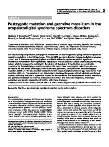 Postzygotic mutation and germline mosaicism in the ... - Nature