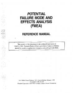 POTENTIAL ' FAILURE MODE AND EFFECTS ANALYSIS (FMEA)