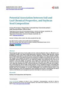 Potential Association between Soil and Leaf Chemical Properties, and ...