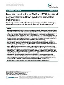Potential contribution of SIM2 and ETS2 functional ... - BioMedSearch