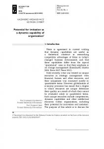 Potential for imitation as a dynamic capability of organisation1 - Sciendo