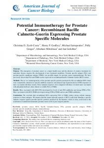 Potential Immunotherapy for Prostate Cancer