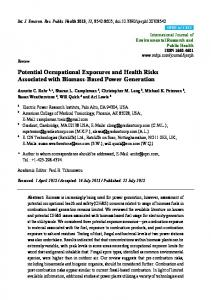 Potential Occupational Exposures and Health Risks ... - MDPI