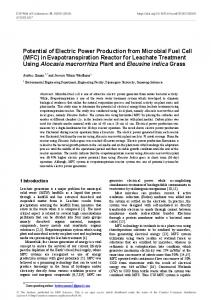 Potential of Electric Power Production from Microbial Fuel Cell (MFC ...