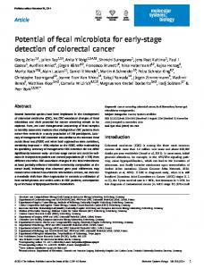 Potential of fecal microbiota for earlystage detection of colorectal cancer