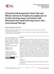 Potential of Hematopoietic Stem Cells and Mitotic Activity in Peripheral ...