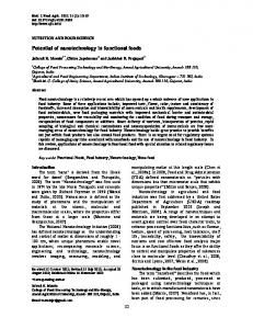 Potential of nanotechnology in functional foods