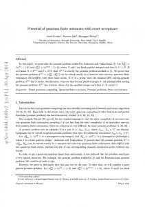 Potential of quantum finite automata with exact acceptance