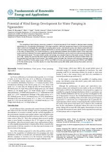 Potential of Wind Energy Development for Water Pumping in ...
