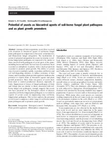 Potential of yeasts as biocontrol agents of soil-borne ... - Springer Link