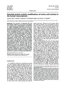 Potential protein activity modifications of amino acid ...