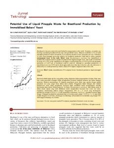 Potential Use of Liquid Pinapple Waste for Bioethanol Production by ...