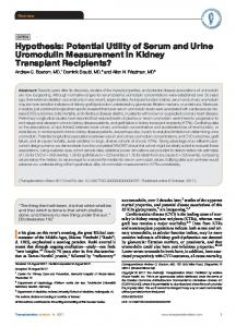 Potential Utility of Serum and Urine Uromodulin Measurement in ...