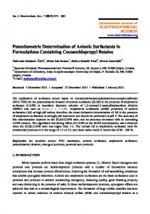 Potentiometric Determination of Anionic Surfactants in Formulations