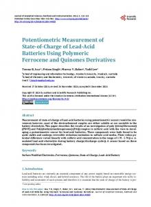 Potentiometric Measurement of State-of-Charge of Lead-Acid Batteries