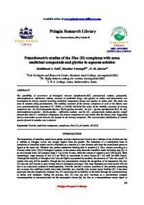 Potentiometric studies of the Zinc (II) - iMedPub