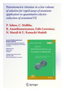 Potentiometric titration in a low volume of solution for