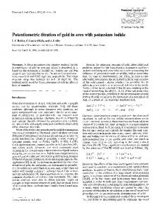 Potentiometric titration of gold in ores with potassium ... - Springer Link