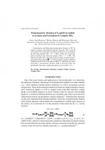 Potentiometric Titration of Lead(II) by Iodide in ...