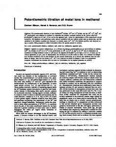 Potentiometric titration of metal ions in methanol - NRC Research Press
