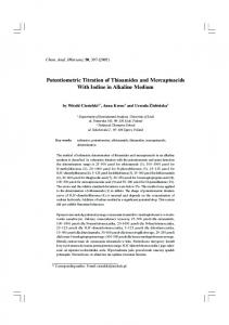 Potentiometric Titration of Thioamides and Mercaptoacids With Iodine ...