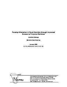 Poverty Alleviation in Rural Namibia through Improved Access to ...