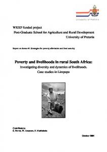 Poverty and livelihoods in rural South Africa - AgEcon Search