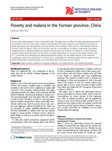 Poverty and malaria in the Yunnan province, China | SpringerLink