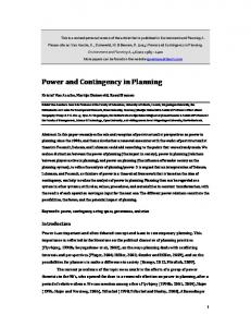 Power and Contingency in Planning