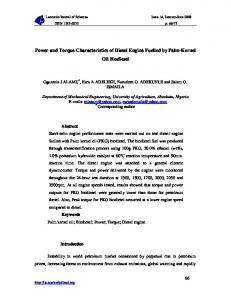 Power and Torque Characteristics of Diesel Engine Fuelled by Palm ...