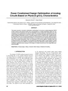 Power Constrained Design Optimization of Analog Circuits ... - SBMicro