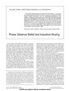 Power Distance Belief and Impulsive Buying - SSRN
