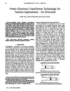 Power Electronic Transformer Technology for Traction Applications ...