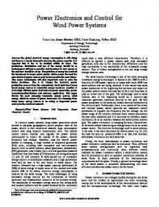 Power Electronics and Control for Wind Power Systems - IEEE Xplore