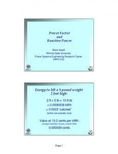 Power Factor and Reactive Power - Power Systems Engineering ...