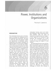 Power, Institutions and Organ izations