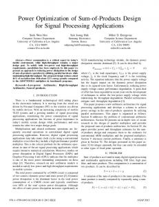 Power Optimization of Sum-of-Products Design for ...