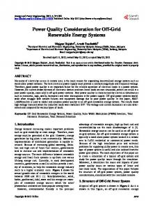 Power Quality Consideration for Off-Grid Renewable Energy ... - Core